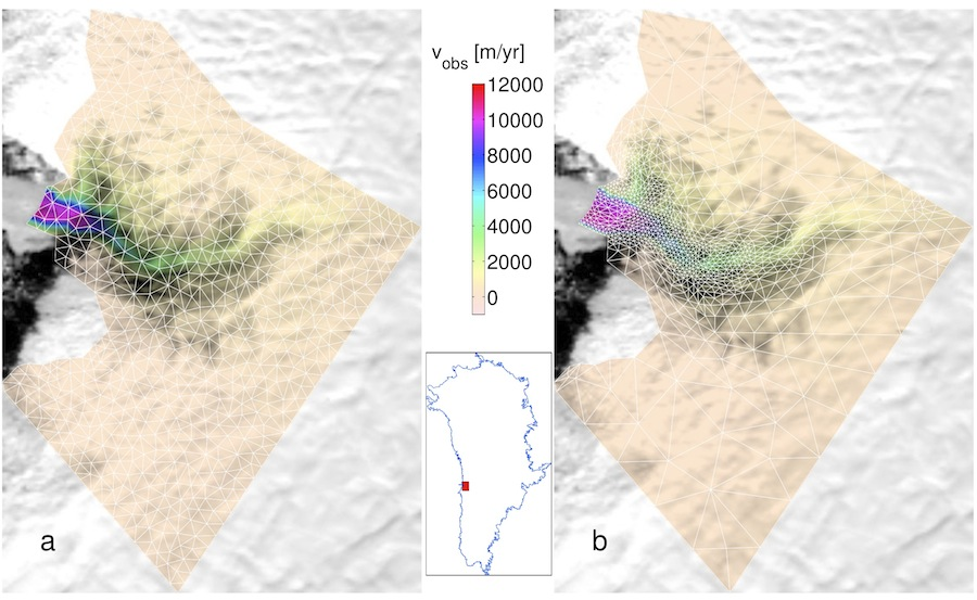 (a) InSAR surface velocity interpolated on a regular mesh (in white). (b) InSAR surface velocity interpolated on adapted mesh. Both meshes comprise 1,500 elements.