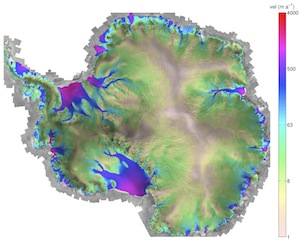Modeled Antarctic surface velocity using ISSM